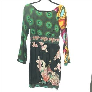 Desigual dress size 40 print abstract tie waist
